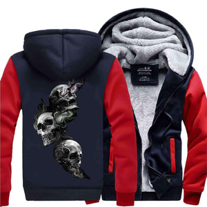 Herogameszone Skulls Zip Hoodie Warm Fleece S / Red Zip Hoodie Warm Fleece