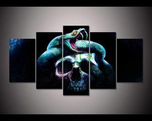 Herogameszone Snake with a Skull Canvas Printed Wall Art Medium / No Frame Canvas Printed Wall Art
