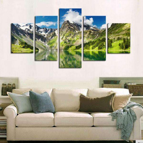 Herogameszone Snowy Mountain with Lake Canvas Printed Wall Art Canvas Printed Wall Art