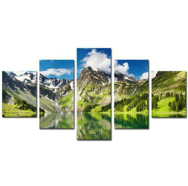 Herogameszone Snowy Mountain with Lake Canvas Printed Wall Art Medium / No Frame Canvas Printed Wall Art