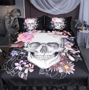 Herogameszone Sugar Skull and Floral Duvet Cover Bedding Set US Full Bedding Set