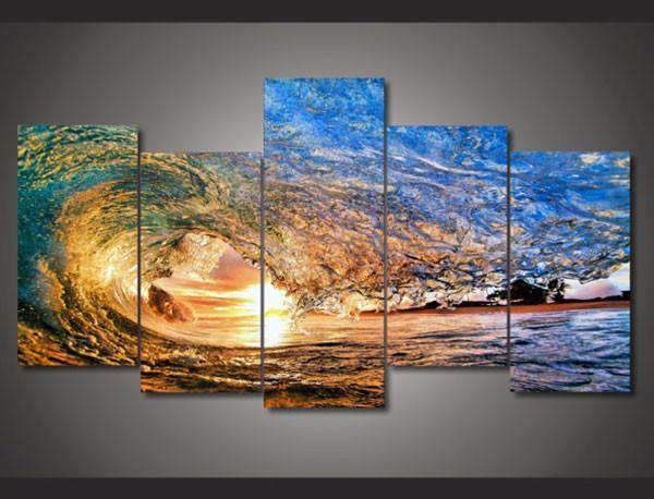 Herogameszone Sunset Light Reflecting in the Wave Canvas Printed Wall Art Medium / No Frame Canvas Printed Wall Art