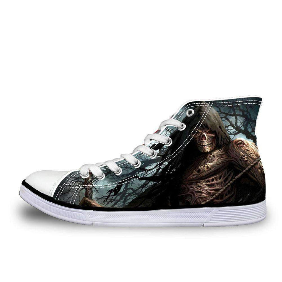 Herogameszone The Ripper Canvas Shoes For Unisex High-Top Printed Casual US 5 Canvas Shoes For Unisex High-Top Printed Casual