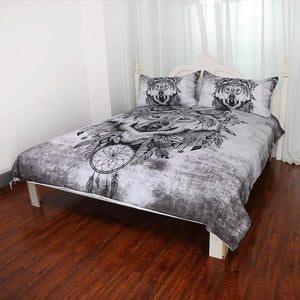 Herogameszone Tribal Wolf Dreamcatcher Duvet Cover Bedding Set Bedding Set
