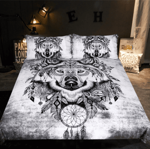 Herogameszone Tribal Wolf Dreamcatcher Duvet Cover Bedding Set US Full Bedding Set