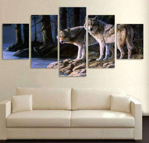 Herogameszone Two Wolves in the forest Canvas Printed Wall Art Canvas Printed Wall Art
