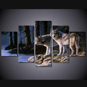 Herogameszone Two Wolves in the forest Canvas Printed Wall Art Medium / No Frame Canvas Printed Wall Art