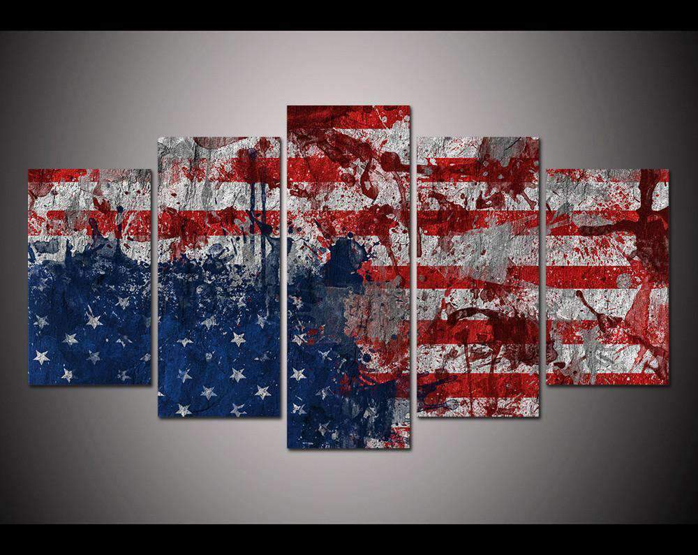Herogameszone USA Flag Watercolor Canvas Printed Wall Art Medium / No Frame Canvas Printed Wall Art