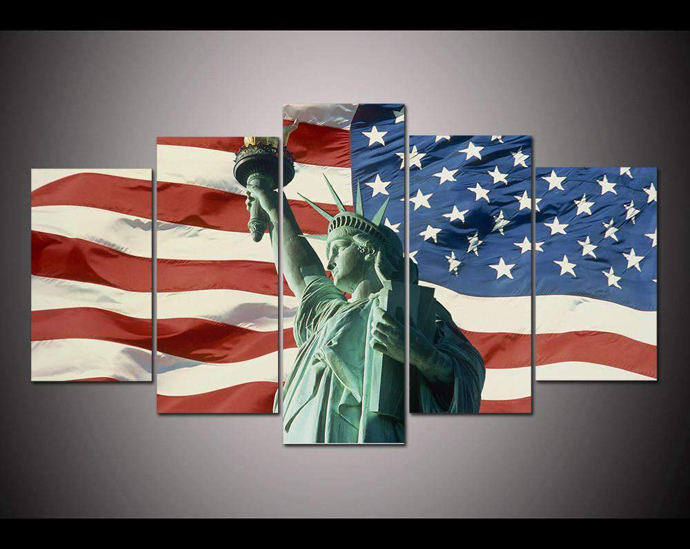 Herogameszone USA Flag with Statue of Liberty Canvas Printed Wall Art Medium / No Frame Canvas Printed Wall Art