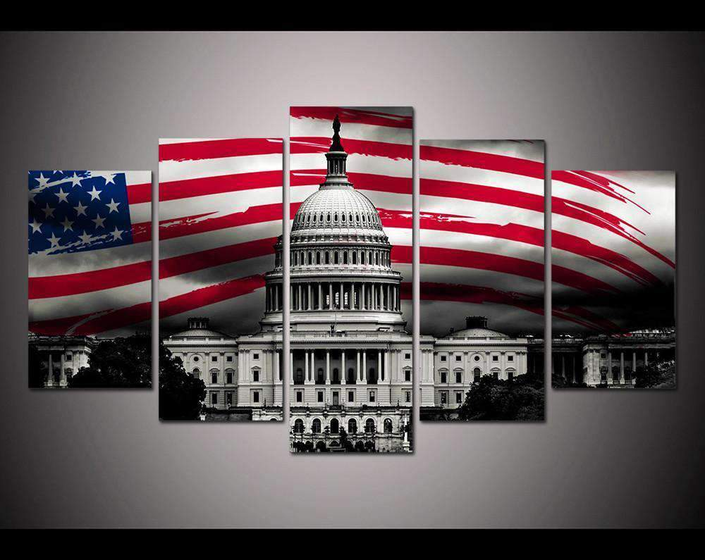 Herogameszone USA Flag with The White House Canvas Printed Wall Art Medium / No Frame Canvas Printed Wall Art