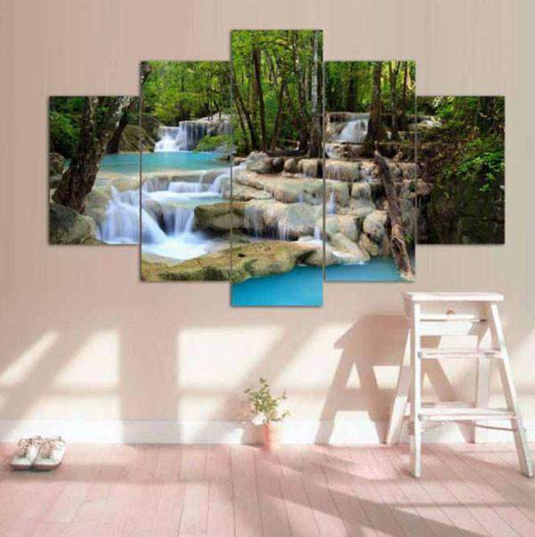 Herogameszone Waterfall Lake landscape Canvas Printed Wall Art Canvas Printed Wall Art