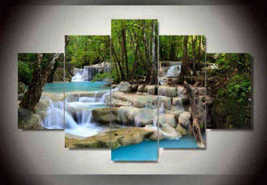 Herogameszone Waterfall Lake landscape Canvas Printed Wall Art Medium / No Frame Canvas Printed Wall Art