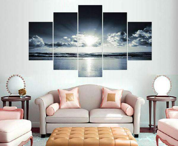 Herogameszone White Black Ocean Sunrise Canvas Printed Wall Art Canvas Printed Wall Art