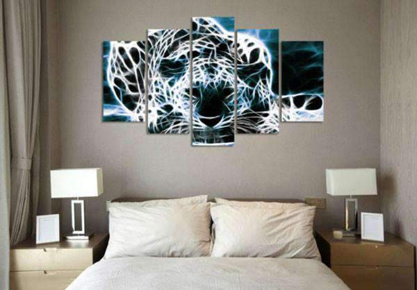 Herogameszone White Leopard Canvas Printed Wall Art Canvas Printed Wall Art