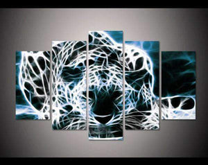 Herogameszone White Leopard Canvas Printed Wall Art Medium / No Frame Canvas Printed Wall Art