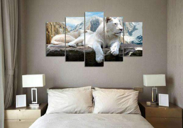 Herogameszone White Lion Canvas Printed Wall Art Canvas Printed Wall Art