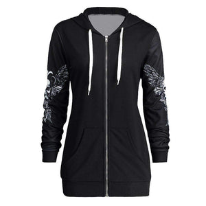 Herogameszone Wicked Skull Hoodie Long Sleeve For Women Hoodie Long Sleeve For Women