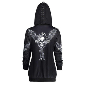 Herogameszone Wicked Skull Hoodie Long Sleeve For Women S Hoodie Long Sleeve For Women
