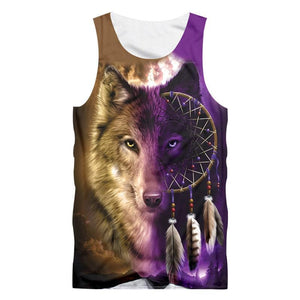 Herogameszone Wolf Dreamcatcher Face Top Sleeveless S Tank Top Sleeveless