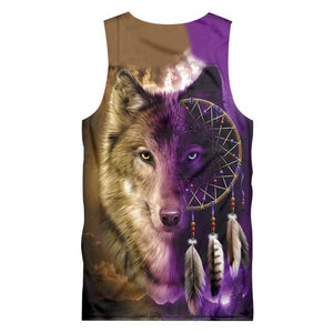 Herogameszone Wolf Dreamcatcher Face Top Sleeveless Tank Top Sleeveless