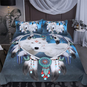 Herogameszone Wolf Love Dreamcatcher Duvet Cover Bedding Set Bedding Set