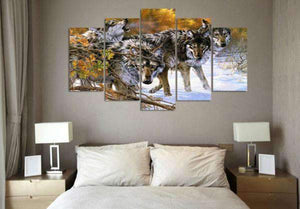 Herogameszone Wolves in the Snow Canvas Printed Wall Art Canvas Printed Wall Art