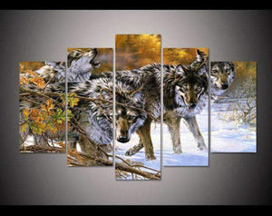 Herogameszone Wolves in the Snow Canvas Printed Wall Art Medium / No Frame Canvas Printed Wall Art