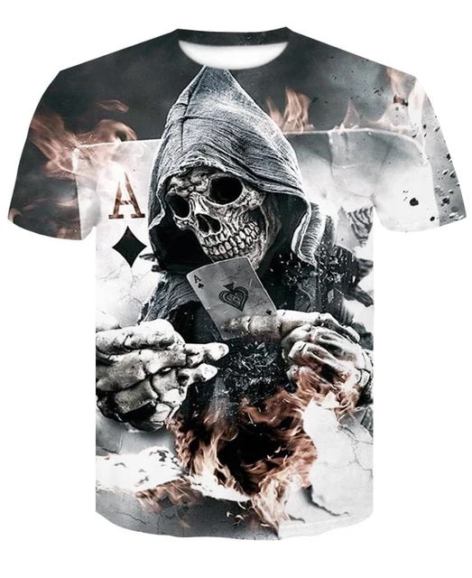 Poker Skull 3D T-Shirt Short Sleeve