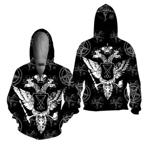 "The Sigil of Lucifer (""Seal of Satan"") Zipper Hoodie"