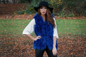 Blue Fur Feather Hooded Gilet