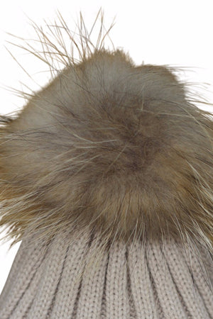 Close Up Beige Fur Bobble Hat