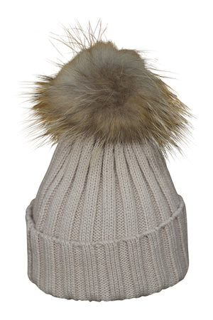 Beige Fur Bobble Hat