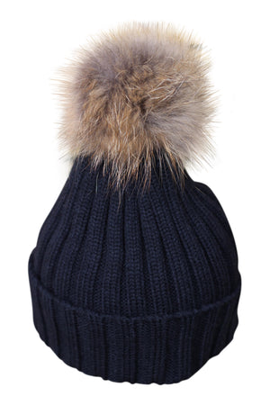 Black Fur Bobble Hat