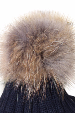 Close Up Black Fur Bobble Hat