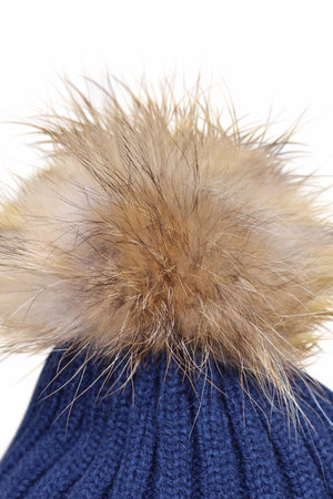 Close Up Navy Blue Fur Bobble Hat
