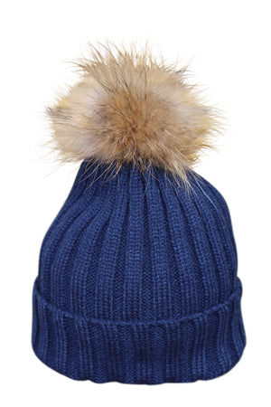 Navy Blue Fur Bobble Hat