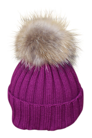 Burgundy Fur Bobble Hat