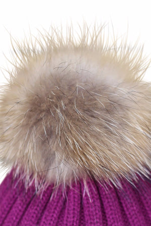 Close Up Burgandy Fur Bobble Hat