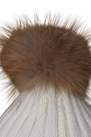 Close Up Cream Fur Bobble Hat