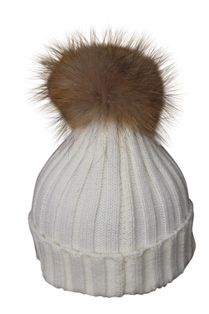 Cream Fur Bobble Hat