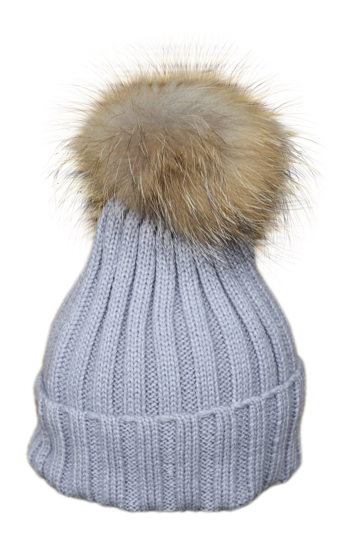 Grey Fur Bobble Hat