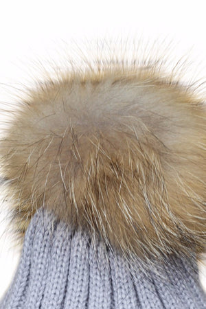Close Up Grey Fur Bobble Hat