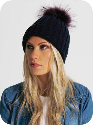Model Wearing Black Bobble Hat