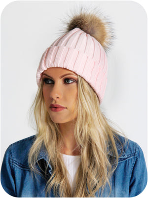 Model Wearing Pink Bobble Hat