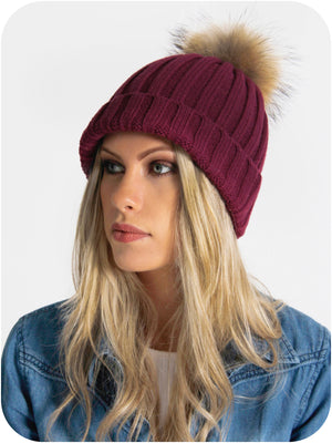 Model Wearing Burgandy Bobble Hat