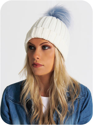 Model Wearing Cream Bobble Hat