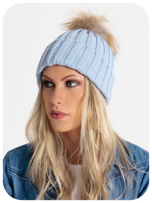 Model Wearing Blue Bobble Hat