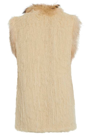 Long Length Cream Fur Gilet Back