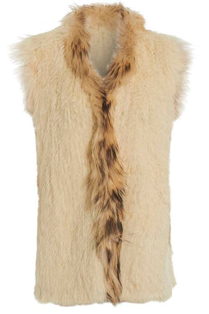 Long Length Cream Fur Gilet Front