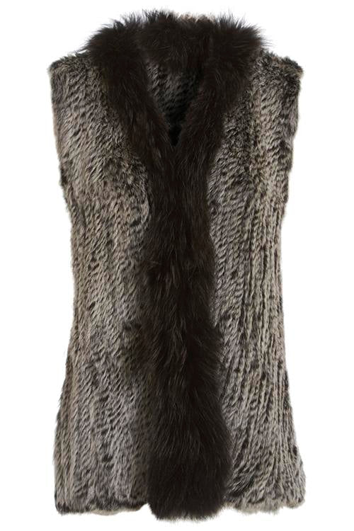 Long Length Snow Tipped Fleck Fur Gilet Front